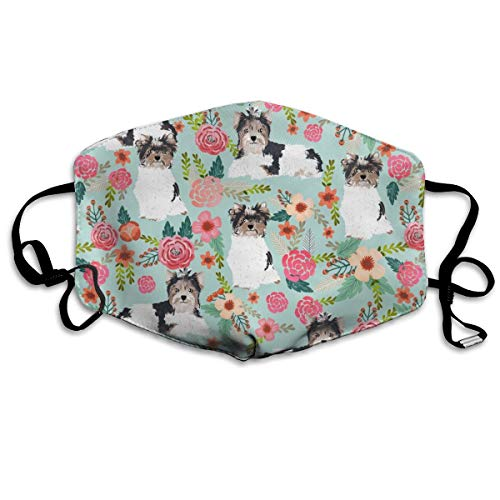 Biewer Terrier Dogs Mint Florals Cute Toy Dogs Floral Cute Toy Dog Breeds Designs Anti-dust Cotton Mouth Face Masks Reusable for Outdoor Half Face Masks