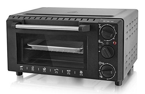 Emerio MO-111024 Mini-Ofen, Edelstahl 1000 Watt, 13 Liter, Timer, für handelsübliche 26cm Tiefkühl Pizza geeignet, doppelt verglast, Camping oder Single Kleinküche, Schwarz