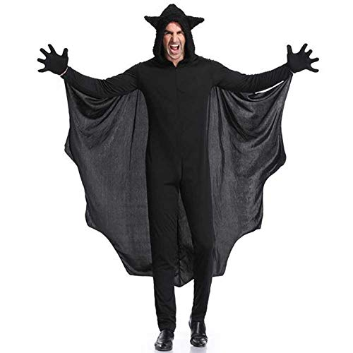 Heilsa Halloween Fledermaus-Kostüm, Umhang Party Dress Up DIY Umhang mit Handschuhen für Erwachsene und Kinder, Männer, M