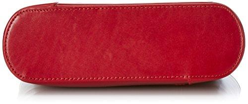 CTM Borsa da Donna a Spalla in Pelle, 28x30x9cm, Vera Pelle 100% Made in Italy Rosso