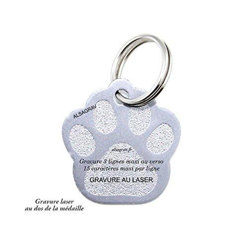 ALSAGRAV - Médaille modèle PATTE pour petit/moyen chien ou chat – couleurs argent– GRAVURE OFFERTE