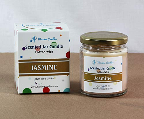 Maxime Candles Jasmine Scented Glass Jar Aroma Candles | Burn Time - 35 Hrs | Candles jar for Decoration | Candles with Fragrance | Scented Candles for Bedroom