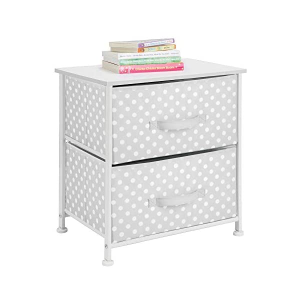 mDesign Chest of Drawers - Children's Bedroom Storage System with 2 Drawers and Flat Top - Nursery Storage Unit with Polka Dot Design - Grey/White mDesign SWEET STORAGE: This 2-drawer side table is a must-have accent to complement any child's room. The grey fabric is adorned with a sweet white polka dot pattern. STORE ANYTHING: The bedroom drawers are a versatile unit and can be filled with anything. Use to store toys, accessories, clothes, books, nappies and more. VERSATILE UNIT: Although the unit works best as bedroom storage, its uses do not stop there. Place in play rooms, nurseries and other child-specific areas of the home. 6