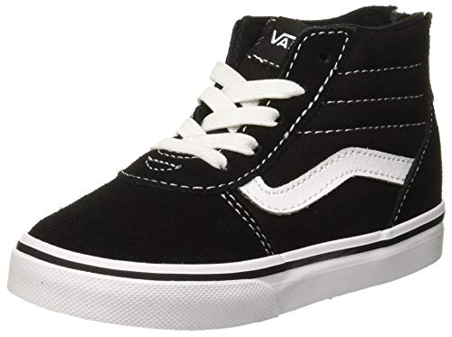 Vans Unisex Baby Ward HI Zip Suede/Canvas Sneaker, Schwarz Black/White Car, 24 EU -