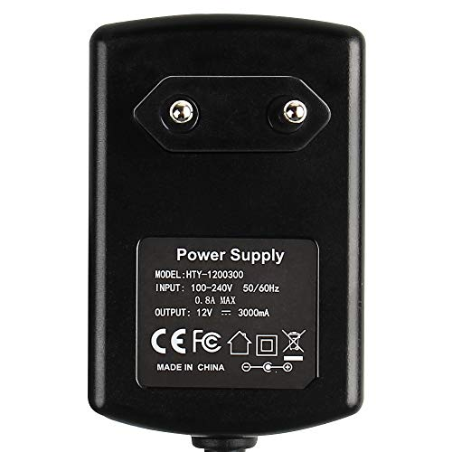 DUMVOIN AC Adapter 100-240v 50-60hz zu DC Stromversorgung 12V 3A 36W Power Supply Adapter Ladegerät Netzteil für LED RGB Strip Streifen Laufwerke Festplatten Router, Euro Stecker