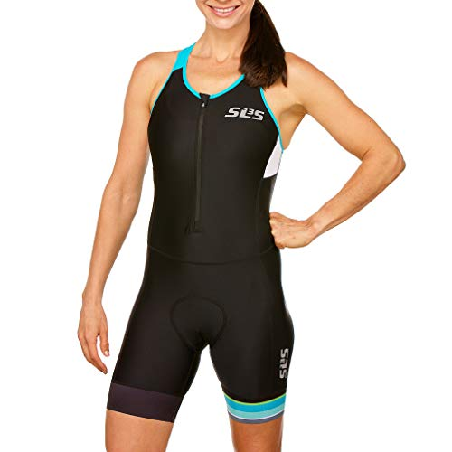 SLS3 Triathlon Einteiler Damen | FRT Trisuit | 2 Taschen | Womens Trisuit | Triathlon-Anzug für Damen | Frauen Tri Suit (Black/Martinica Blue, L)