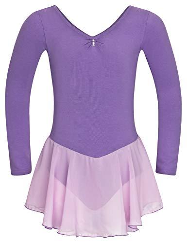 tanzmuster Kinder Langarm Ballettkleid Anna aus Baumwolle mit Glitzersteinen und Chiffon Röckchen in Lavendel, (Macht Anna Kostüm)