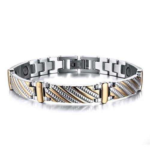 Vnox Bracciale 9 millimetri delle donne degli uomini in acciaio inossidabile magnetico guarigione sano,Silver Gold,21 centimetri
