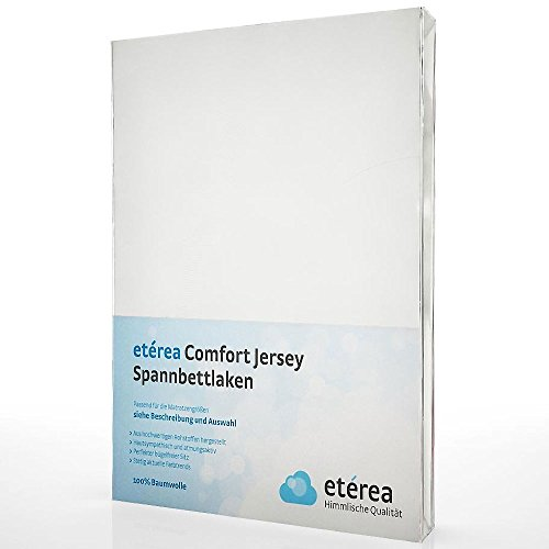 etérea Jersey Spannbettlaken - Serie Comfort - 100% Baumwolle Spannbetttuch Farbe Weiß, in der Größe 180x200 - 200x200cm (Stretch-knit Cover)