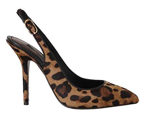 Dolce & Gabbana - Damen Schuhe - Pumps Brown Leopard Pony Hair Slingbacks Shoes- EU 37 - Gabbana Leopard