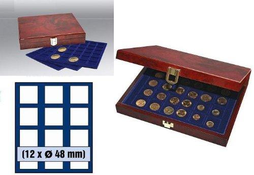 SAFE WURZELHOLZ MÜNZKASSETTEN PREMIUM 36 X US SILBER EAGLE DOLLAR IN CAPS 41 NR. 5783-48 - 3 Tableaus 6348 für je 12 x Münzen bis 48 MM o. bis Münzkapseln 41 - Ideal für Canada Meaple Leaf - 5 Mark Kaiserreich - MAHAGONIFARBENDE - Edle Lackholz-Kassette in Wurzelholz - Optik - Dollar-münze 4