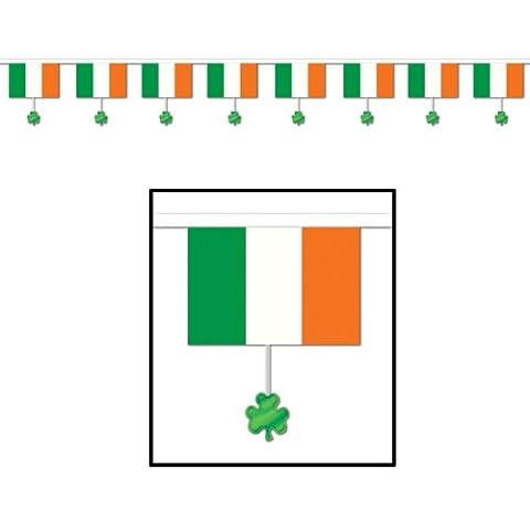 Guirlande drapeau irlandais et trèfles St Patrick