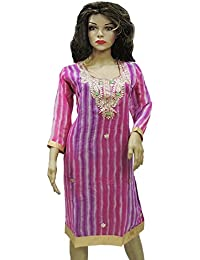 Ratnatraya Leheriya Ciffon Purple Pink Kurti For Women | Latest Designer Party Wear Dress For Girls