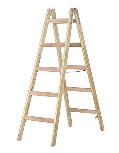 HYMER Holz-Sprossenstehleiter, 2 x 5 Sprossen, 7141010