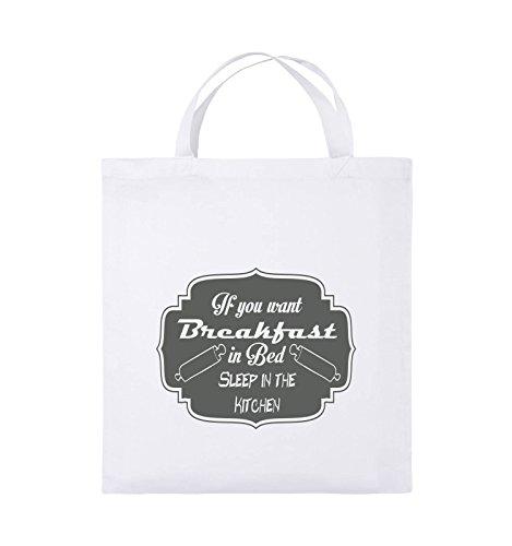 Comedy Bags - If you want Breakfast in Bed - KITCHEN - Jutebeutel - kurze Henkel - 38x42cm - Farbe: Schwarz / Pink Weiss / Grau