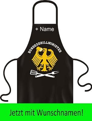 Bundesgrillminister! Lustige Grillschürze für Ihre Grillparty! Mit individuellen Wunschnamen