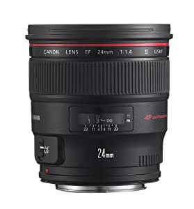 Canon EF 24mm f/1.4L II USM Objectif ultra large Noir - Lentilles et filtres d'appareil photo (13/10, Objectif ultra large, 0,077 m, 2,4 cm, 84°, USM)