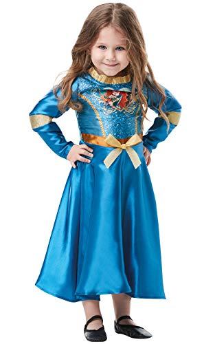 Rubie's Offizielles Disney Prinzessin Pailletten Merida Klassisches Kostüm für Kinder von 2-3 Jahren, Höhe 98 cm