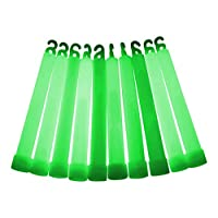 """10x 6"""" Individually Wrapped Glow Sticks - Mixed or Single Colour (8 to choose from) (Green)"""