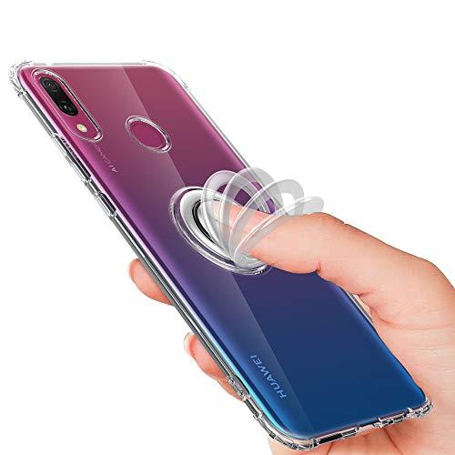 Preisvergleich Produktbild Nadoli Silikon Handyhülle für Huawei Y6 2019, Ultradünne Weich Kratzfest Stoßfest TPU Bumper Flexibel Schale Schutzhülle Etui mit 360 Grad Ringständer für Huawei Y6 2019