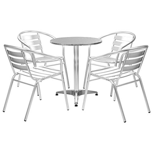 Tidyard Mobilier de Jardin 5 pcs   Ensemble de Bistro   Mobilier d'Extérieur - 1 Table Ronde + 4 Chaises Empilable - Argenté Aluminium