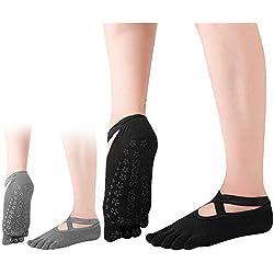 Dokpav 2 pares Calcetines Antideslizantes ABS para Mujer Calcetines de Algodón para Yoga/Fitness/Pilates/Artes Marciales/Danza/Gimnasia/Trampolín 36-43