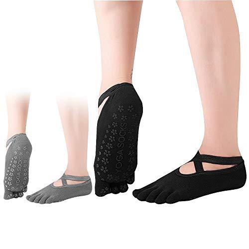 Dokpav Yoga Socken 2 Paar Pilates-Socken für Damen rutschfeste Baumwolle Sportsocken Antirutsch für Yoga Pilates Ballett…