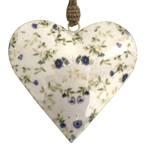 L'ORIGINALE DECO Grand Cœur à Suspendre en Métal Fer Patiné Motifs Fleurs Blanc 16 cm x 16 cm