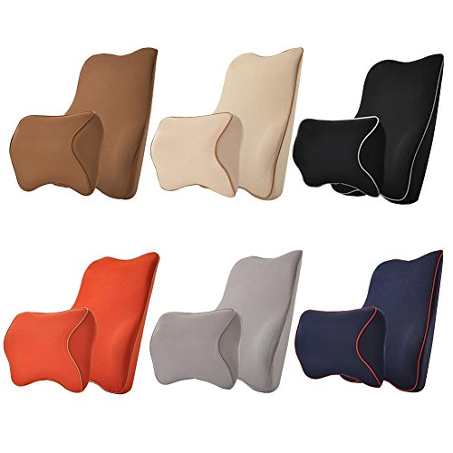 Ecloud Shop Back Cushion Memory Foam Lumbar Support Pad with Adjustable Strap Relieve Back Pain Pillow Suitable for Office Chair and Car Seats-Black