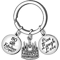 13 16 18 21 30 40 50 60 65 Ans Cadeaux d'anniversaire pour Femmes Hommes Porte-clés en Acier Inoxydable Bijoux (50 Ans)