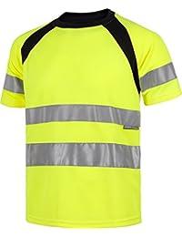 Work Team Camiseta Manga Corta combinada con Alta Visibilidad. Cintas Reflectantes. EN ISO 20471