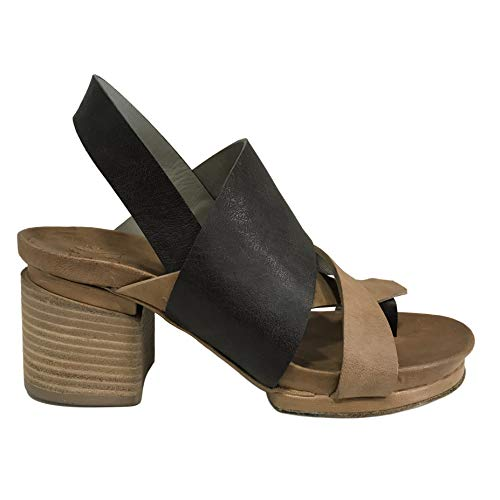 IXOS Sandale Glattleder Damen mit Flip Flops braun/Leder Art X17E15106 Made in Italy (Absatzhöhe; cm 6, Plateau: cm 2) (38 EU)