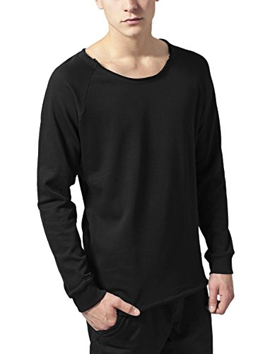 Urban Classics Herren Sweatshirt Long Open Edge Terry Crewneck Schwarz (Black 7)
