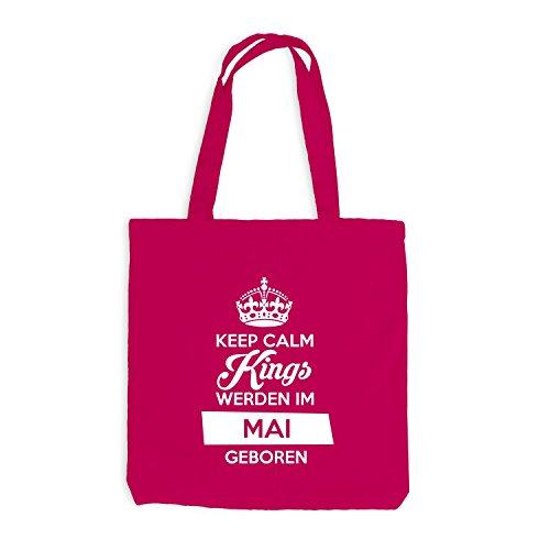 Jutebeutel - Keep Calm Kings werden im Mai geboren - Birthday Geburtstag Pink