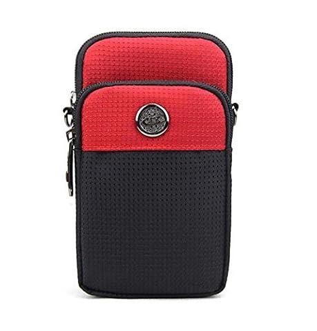 KISS GOLD (TM) wasserabweisende Hüfttasche Waist Bag Handytasche mit Karabiner & zwei Reißverschluss Taschen für Sport rot