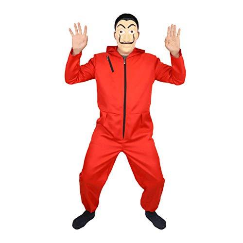 Denver Kostüm Verkleidung - YTWF Haus des Geldes Overall Maske Cosplay Dali Kostüme Body Suit Rot Anzug Halloween Jumpsuit,Adult,XL