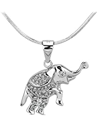 SILVEGO - Colgante para Niña Elefante de Plata 925 con Circonitas