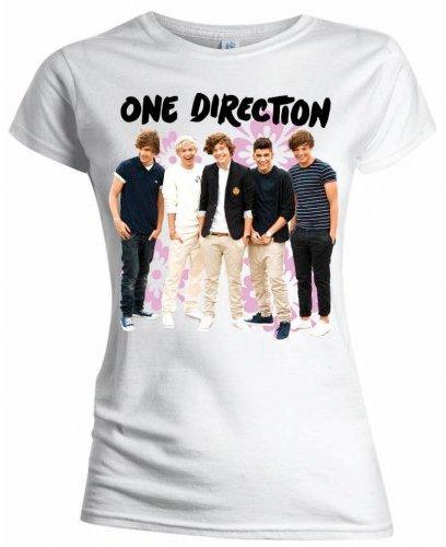 Collectors Mine Damen T-Shirt One Direction-Flowers Weiß (Weiß)