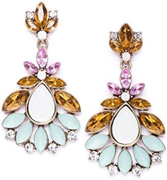Happiness Boutique Damas Pendientes Llamativos en Oro Vintage | Pendientes Oversize XXL de Cristales Multicolores Libres de Níquel