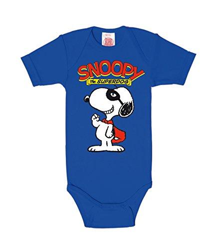 LOGOSHIRT - Snoopy Baby-Body Kurzarm Junge - Peanuts - Snoopy - Superdog Baby Strampler - blau - Lizenziertes Originaldesign, Größe 62/68, 3-6 (Snoopy Baby Kostüm)