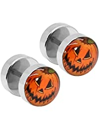 2 Stück Ohrstecker Fakeplugs Fake Plug Tunnel Piercing Ohr Motiv Logo Muster Pumpkin Kürbis Halloween