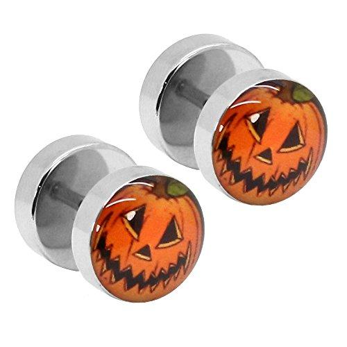 tumundo 2 Ohr-Stecker Pumpkin Kürbis Halloween 10mm Fake-Plug Flesh Tunnel Piercing Motiv Logo Schmuck Ohrring Edelstahl (Halloween Logo)
