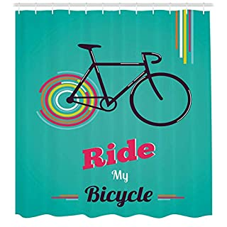 tgyew Vintage Shower Curtain, Ride My Bicycle Theme Poster Style Retro Bike Hipster Art Illustration, Fabric Bathroom Decor Set with Hooks, 72x72 inches, Hot Pink