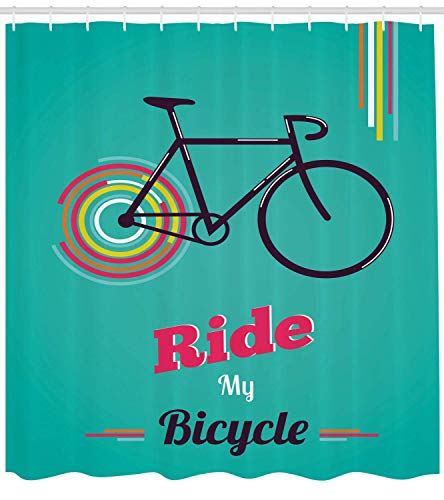 Nyngei Vintage Duschvorhang Fahrt Mein Fahrrad Thema Poster Stil Retro Bike Hipster Kunst Illustration Stoff Badezimmer Dekor Set mit180 cm Lange Pink