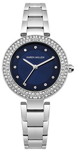 Karen Millen Damen Datum klassisch Quarz Uhr mit Edelstahl Armband KM164USM