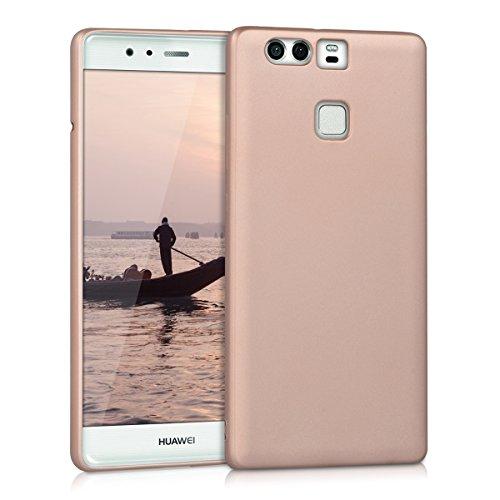 Kwmobile cover per huawei p9 - custodia in silicone tpu - back case protezione posteriore per cellulare oro rosa metallizzato