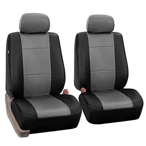 2 Frontschaufel PU - Leder Autositzbezüge Airbag - Kompatibel, Grau/Schwarz
