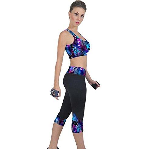 Tongshi Los pantalones de cintura alta Fitness Yoga impresión tramo recortada Leggings...