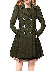 SaiDeng Mujeres Elegante Chaqueta Abrigos Gabardina De Doble Abotonadura Verde Del Ejército 2XL
