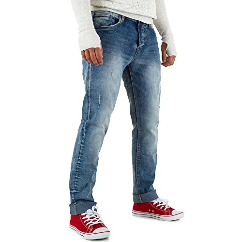 Destroyed Regular Fit Jeans Für Herren bei Ital-Design Blau